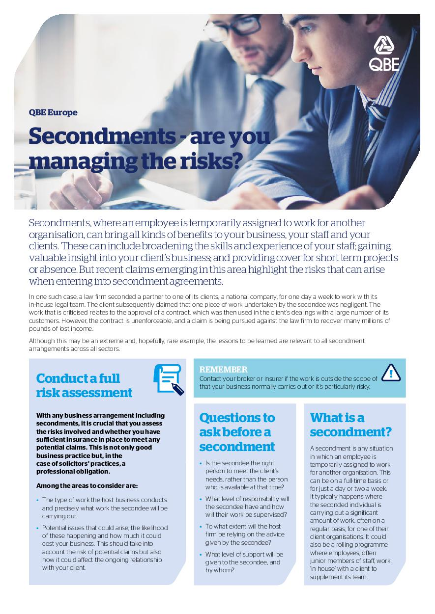 Secondments - are you managing the risks?