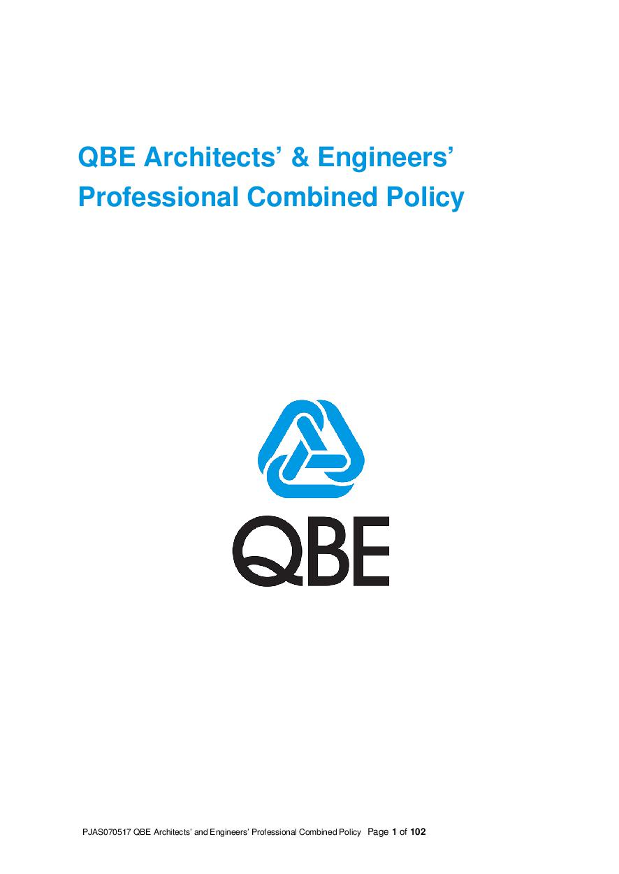 ARCHIVE - PJAS070517 QBE Architects and Engineers Professional Combined Liability
