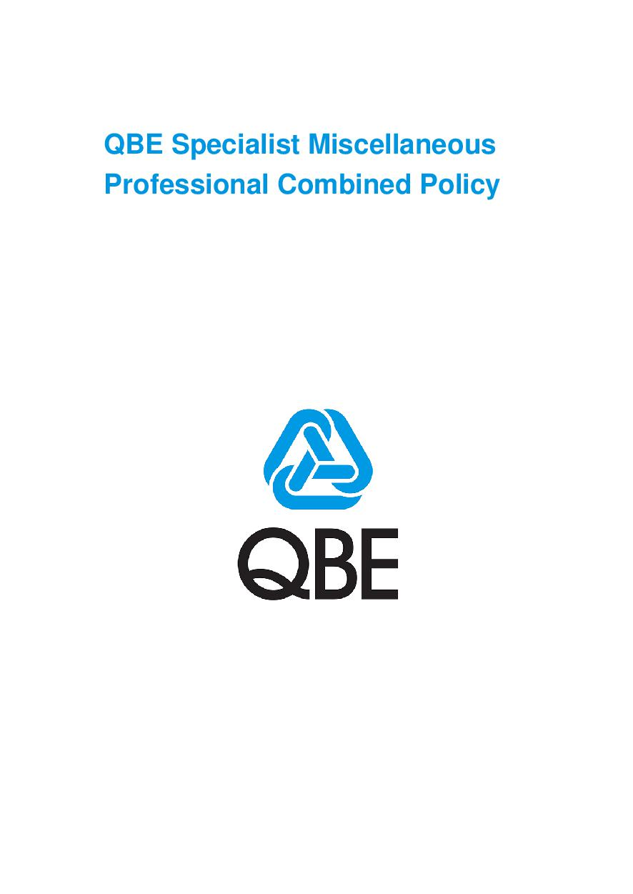 ARCHIVE - PJPU070517 QBE Specialist Miscellaneous Professional Combined Liability