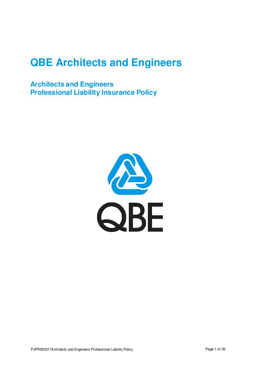 PJPR050517 QBE Architects' and Engineers' Professional Liability Policy