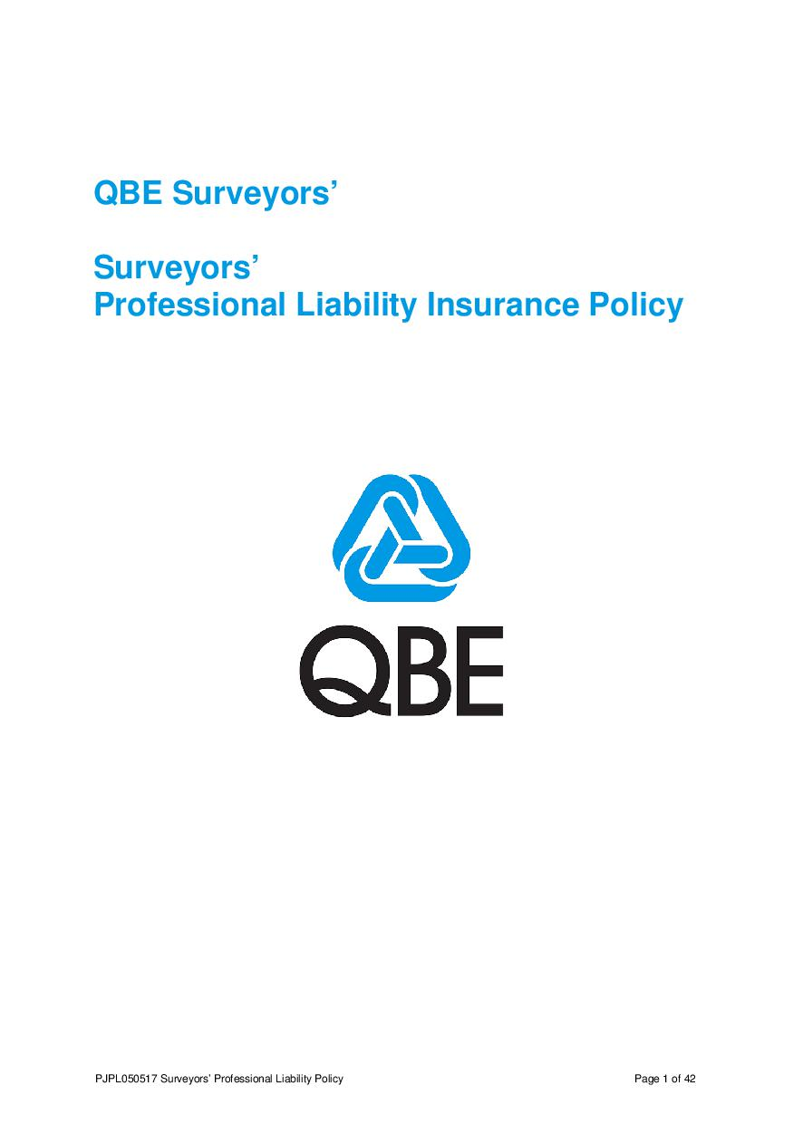 PJPL050517 QBE Surveyors' Professional Liability Policy