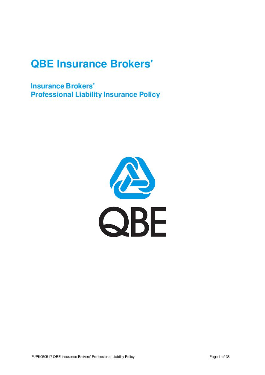 PJPK050517 QBE Insurance Brokers Professional Liability Policy