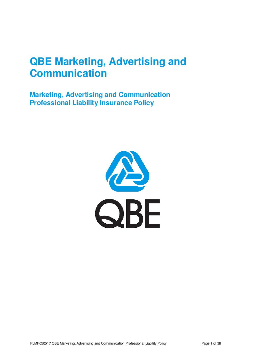 PJMF050517 QBE Marketing Advertising and Communication Professional Liability