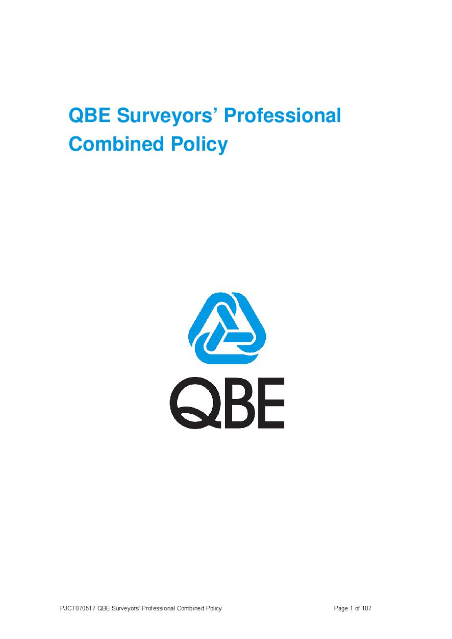 ARCHIVE - PJCT070517 QBE Surveyors Professional Combined Policy