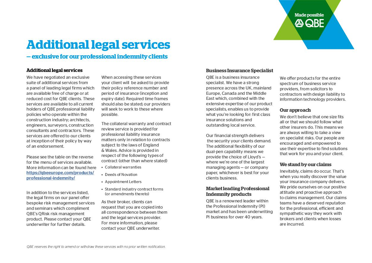 Additional Legal Services - Brokers (PDF 67Kb)