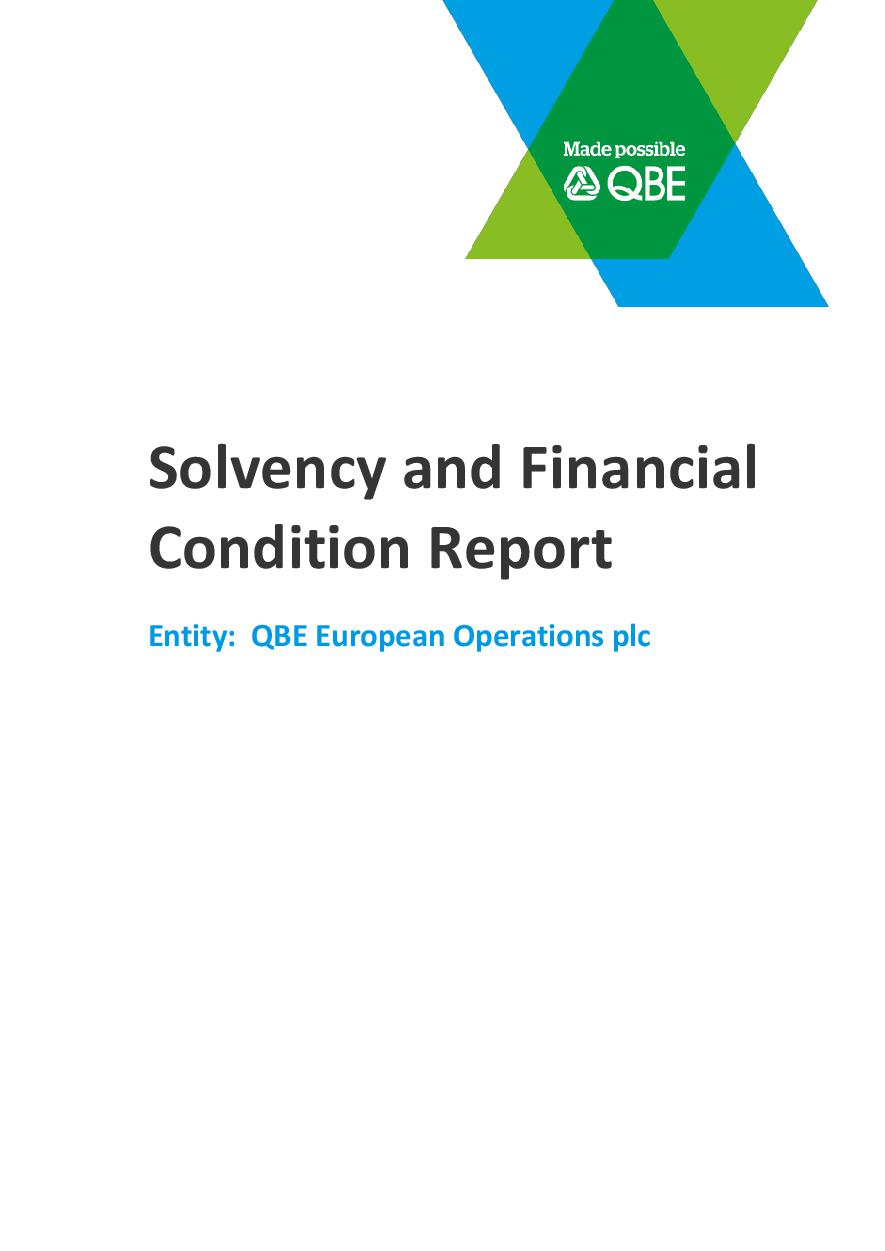 Solvency and Financial Condition Report - QBE European Operations Plc