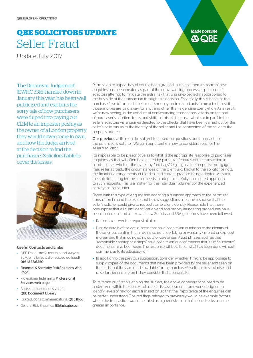 QBE Solicitors Update July 2017 (PDF 102KB)
