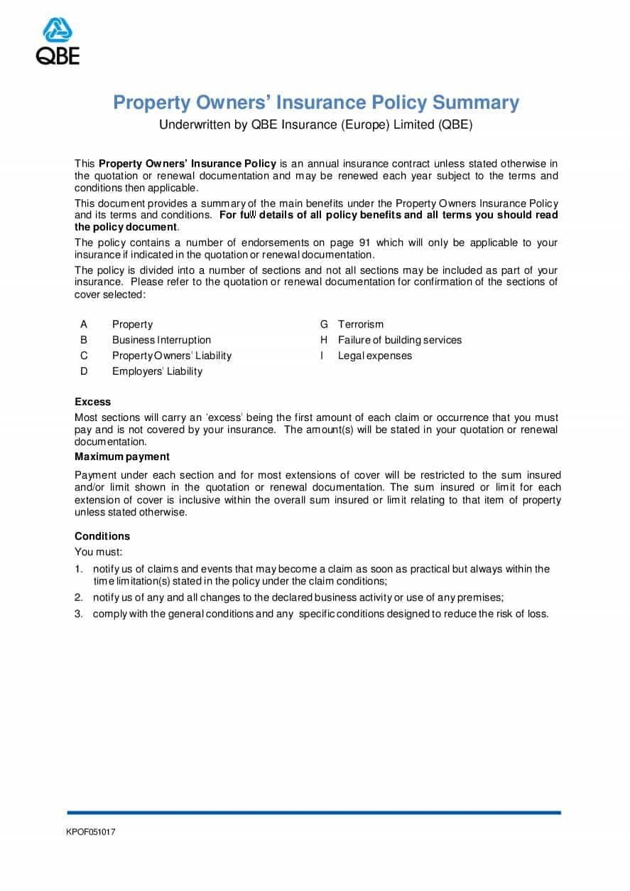 ARCHIVE - KPOF051017 Property Owners Policy Summary
