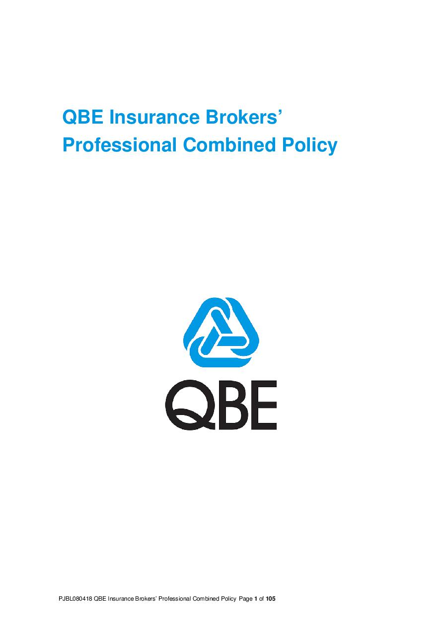 (PJBL080418) QBE Insurance Brokers Professional Combined Liability Policy