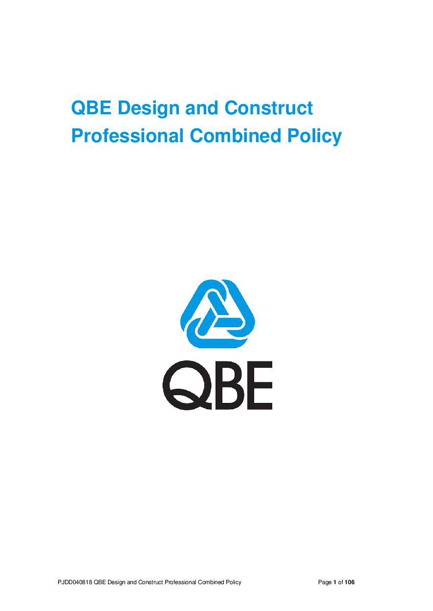 (PJDD080418) QBE Design and Construct Professional Combined Liability Policy