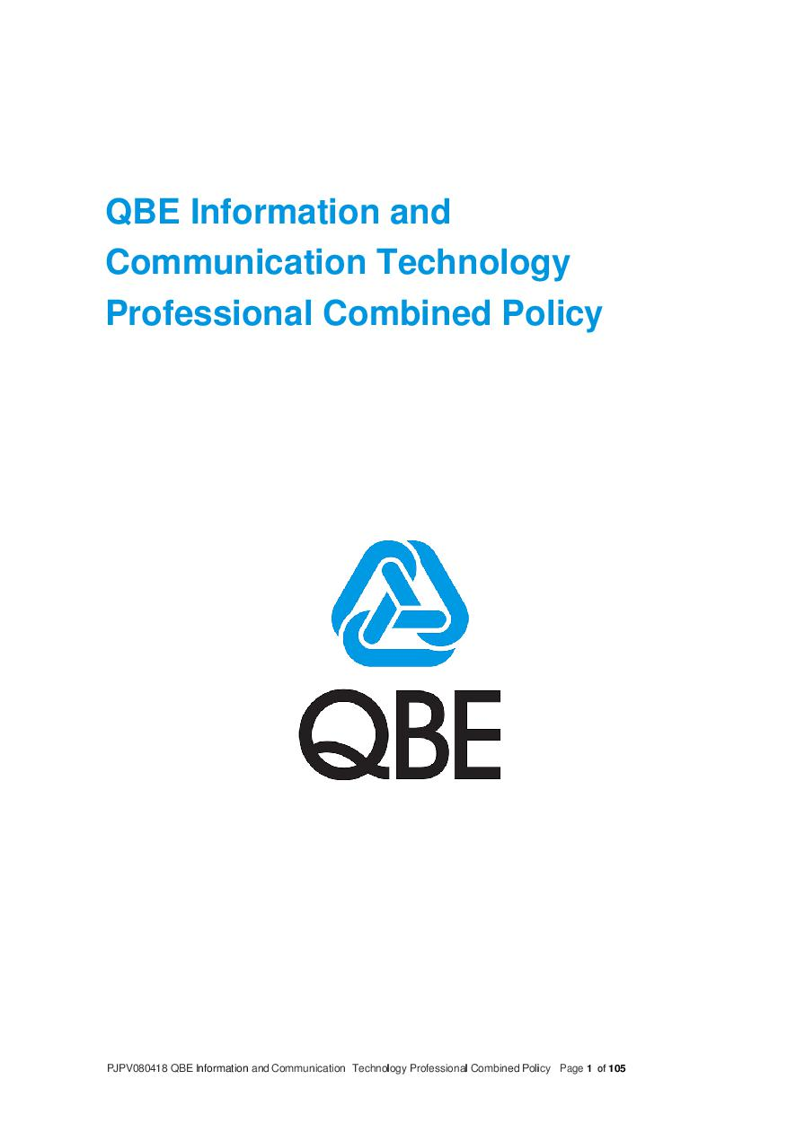 PJPV080418 QBE Information Communication Technology Professional Combined Liability Policy
