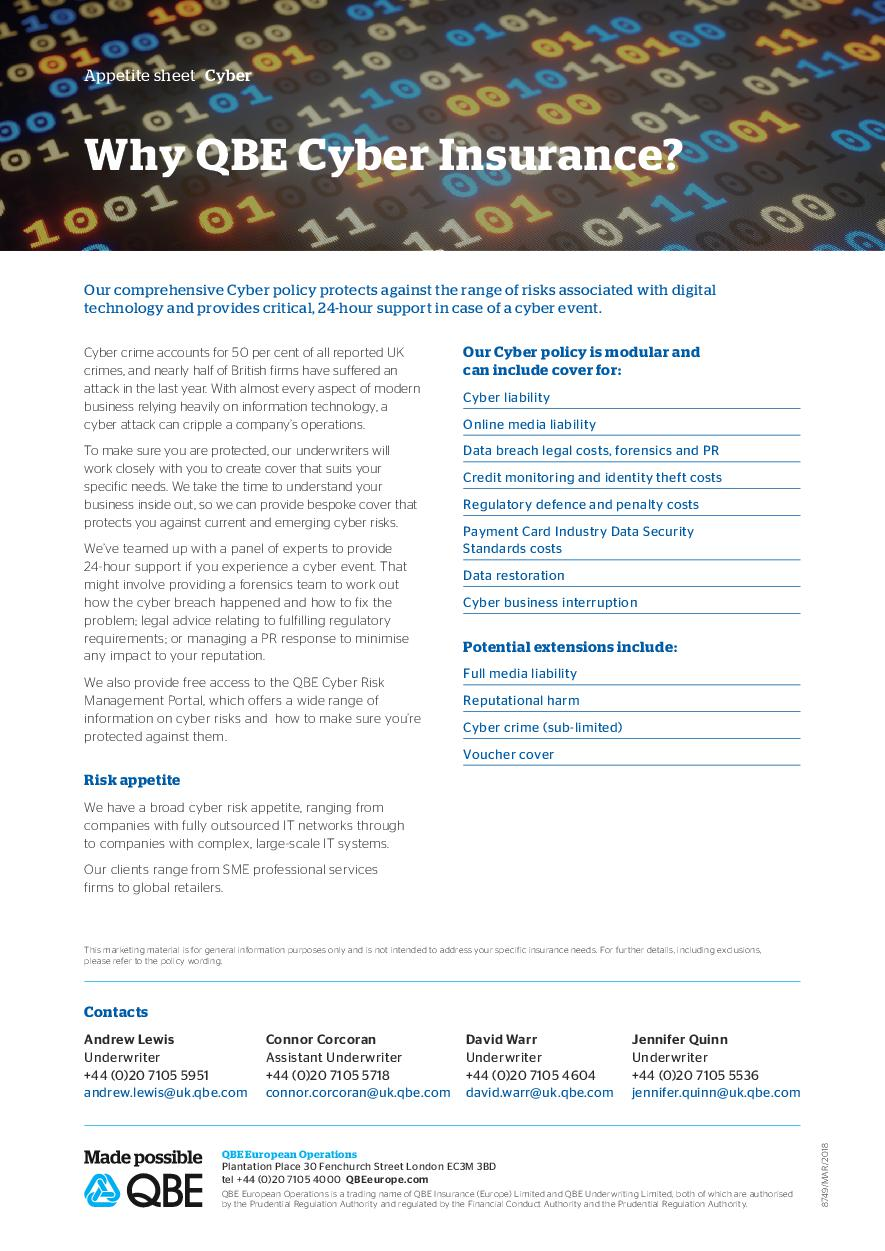 QBE Cyber Response Product Sheet