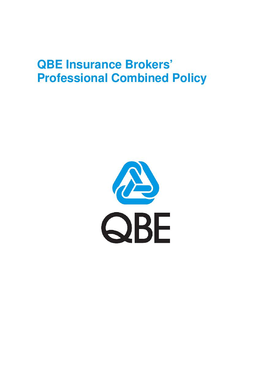 PJBL250518 QBE Insurance brokers professional combined liability Policy