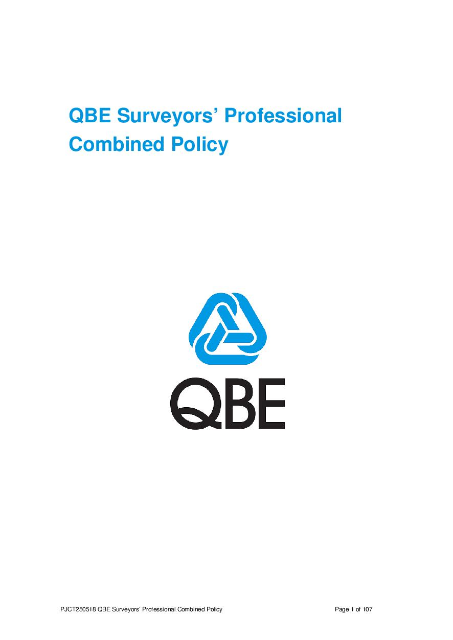 PJCT250518 QBE Surveyors' Professional Liability Policy