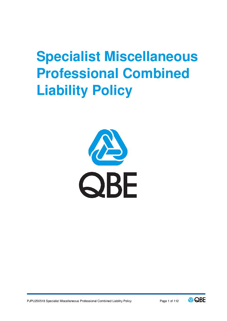 PJPU250518 QBE Specialist Miscellaneous Professional Combined Liability Policy