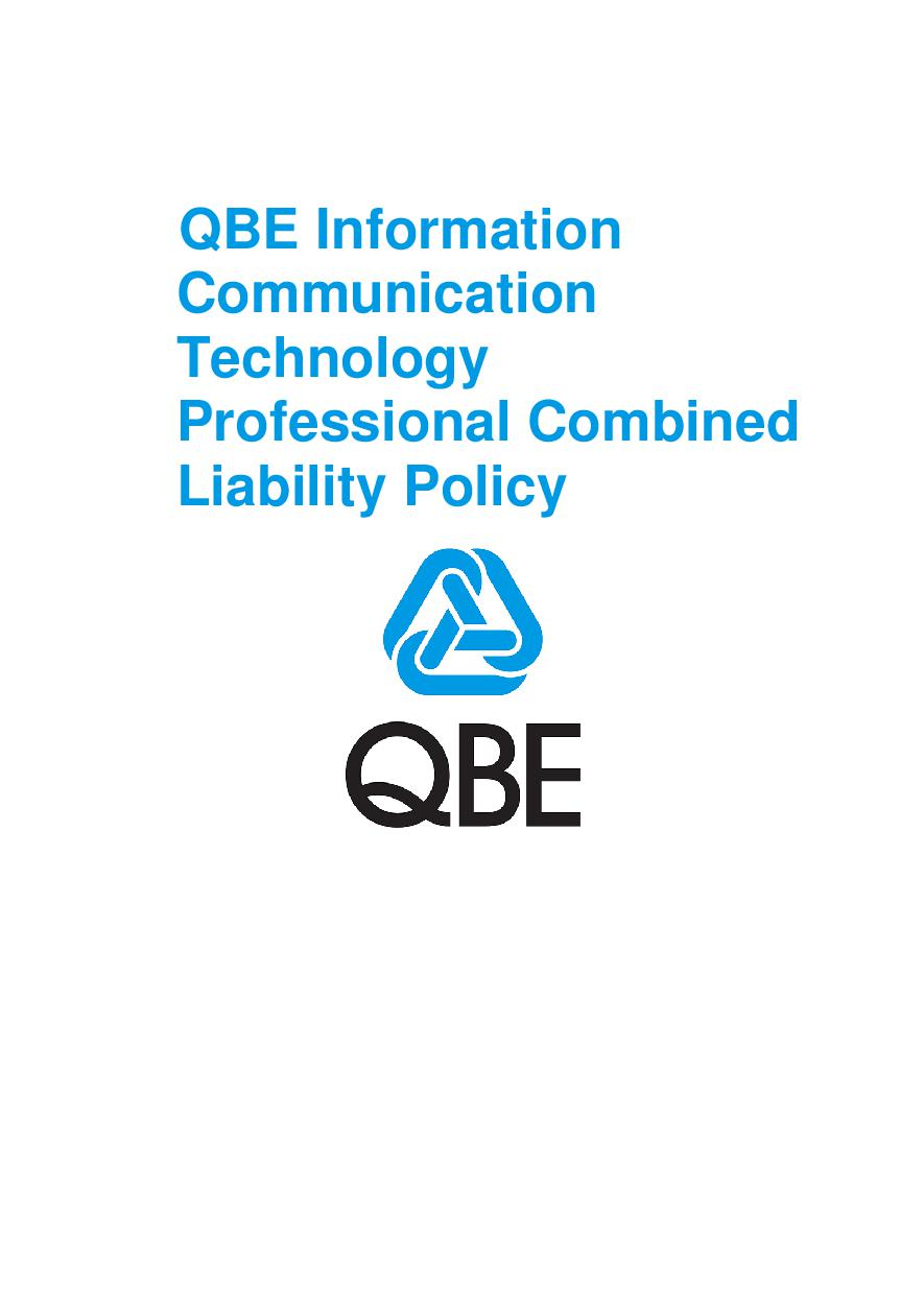 PJPV250518 QBE Information Communication Technology Professional Combined Liability Policy