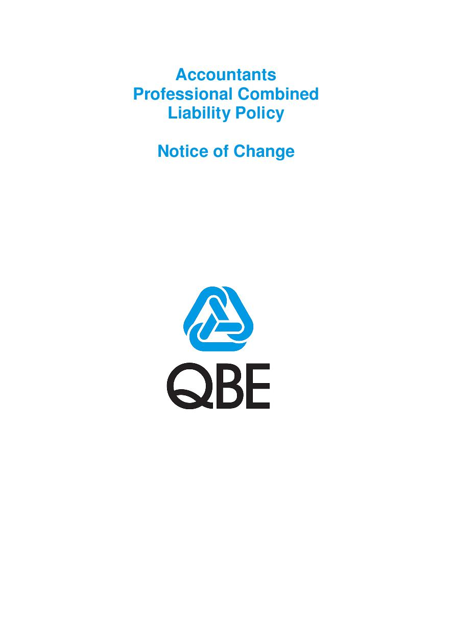 NJPB250518 QBE Accountants Professional Combined Insurance Notice of Change