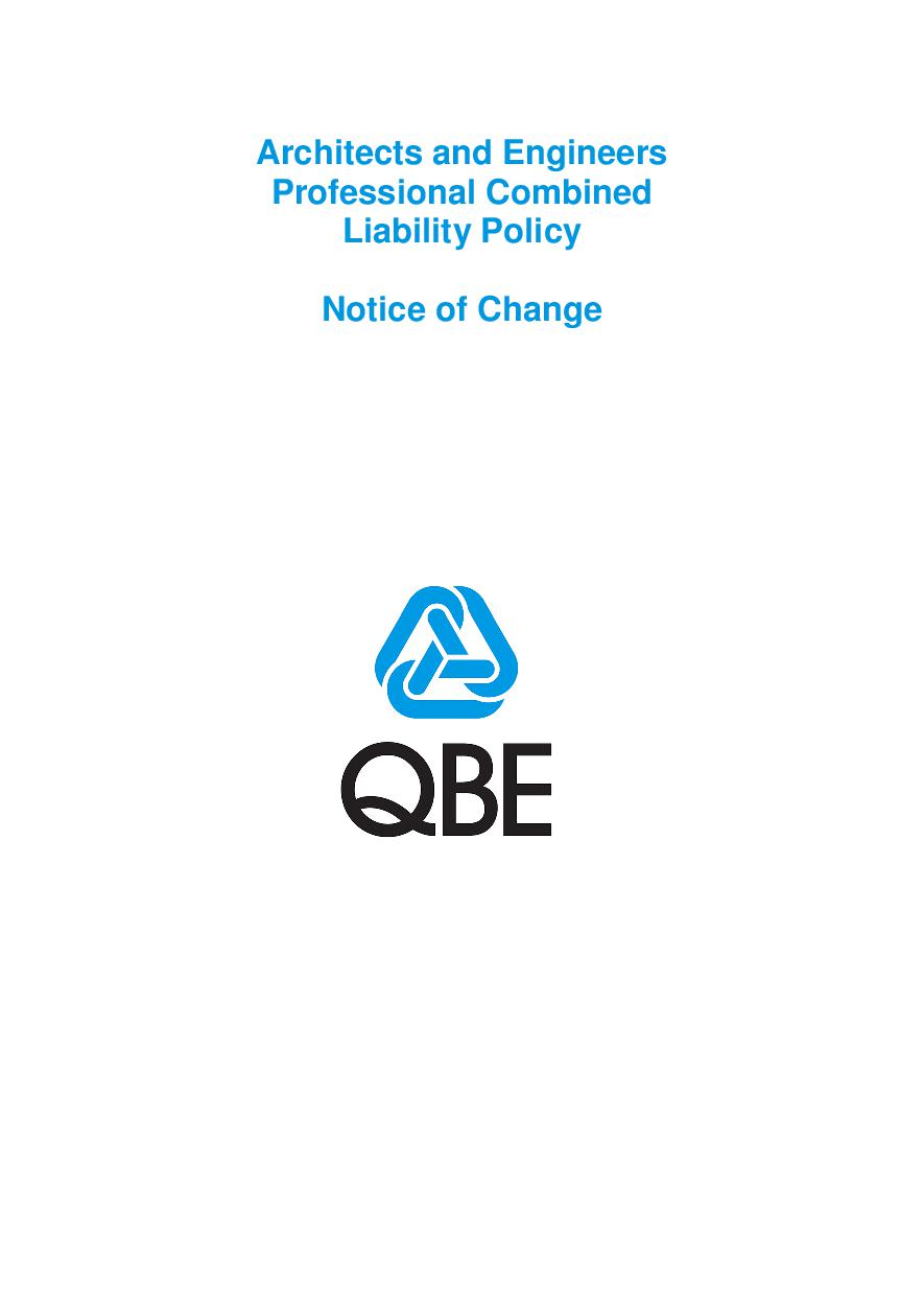 NJAS250518 QBE Architects and Engineers Professional Combined Liability Notice of Change