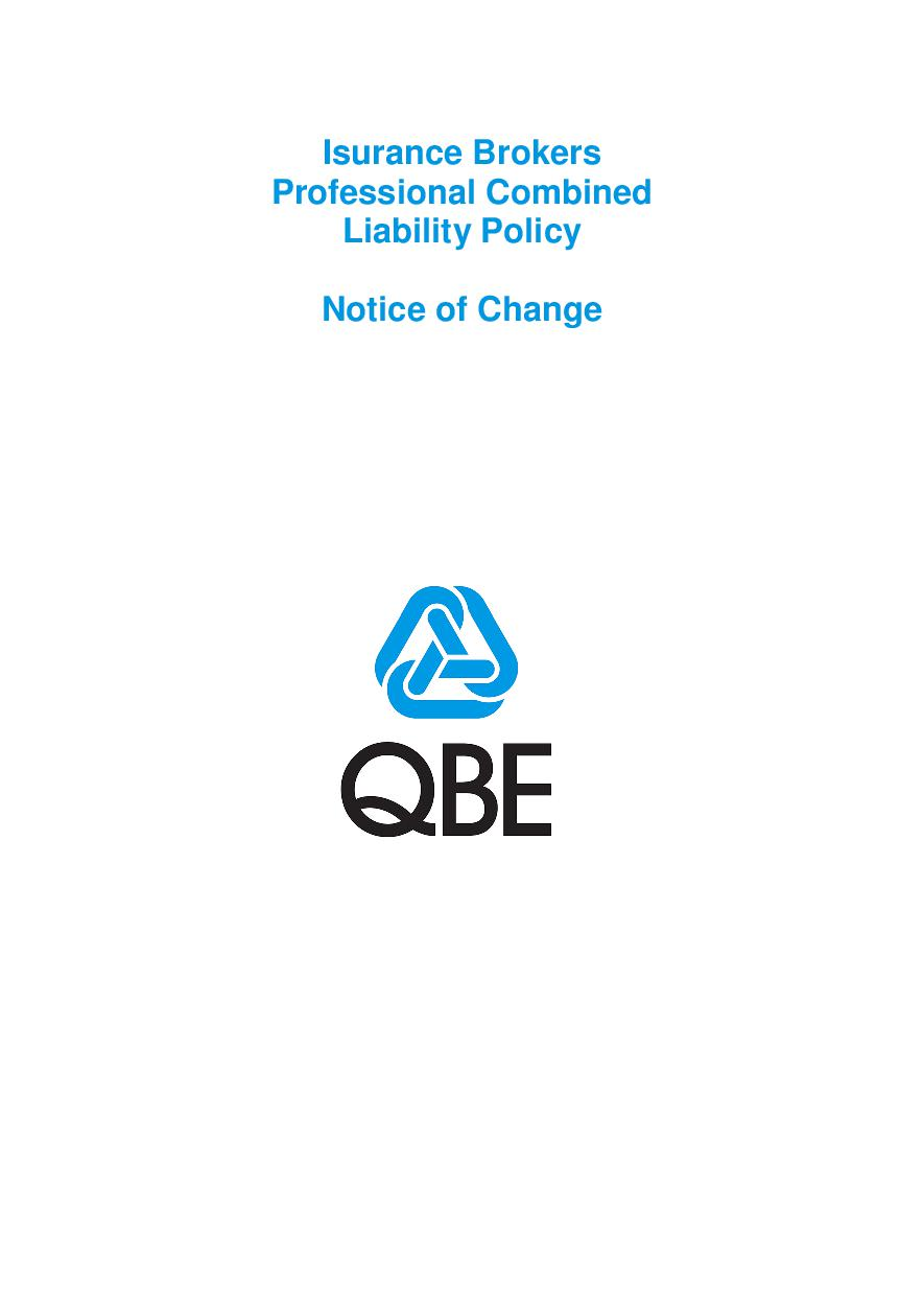 NJBL250518 QBE Insurance brokers professional combined liability Notice of Change