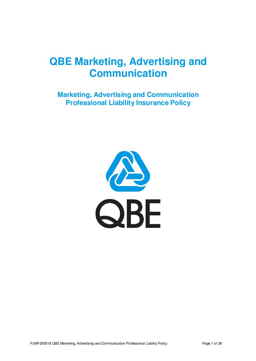 PJMF250518 QBE Marketing Advertising and Communication Professional Liability Policy