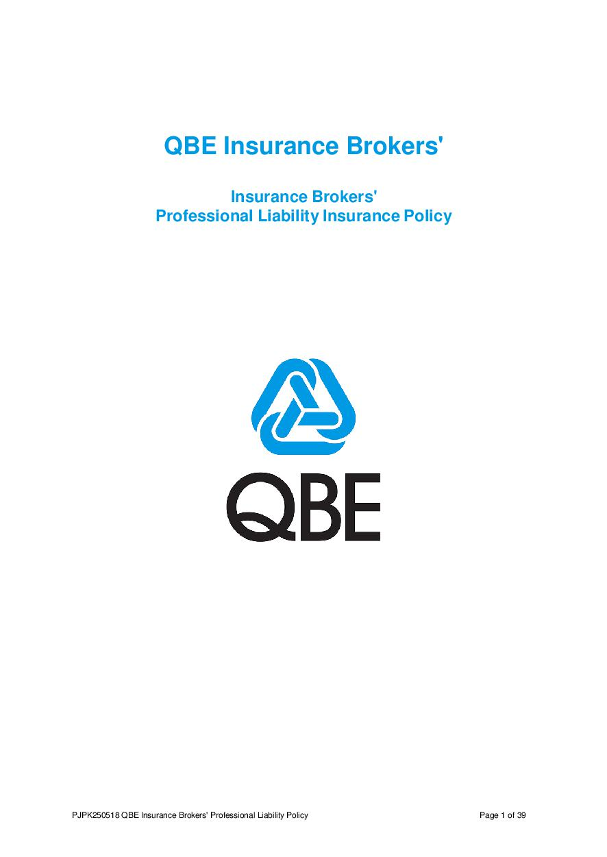 PJPK250518 QBE Insurance Brokers Professional Liability Policy