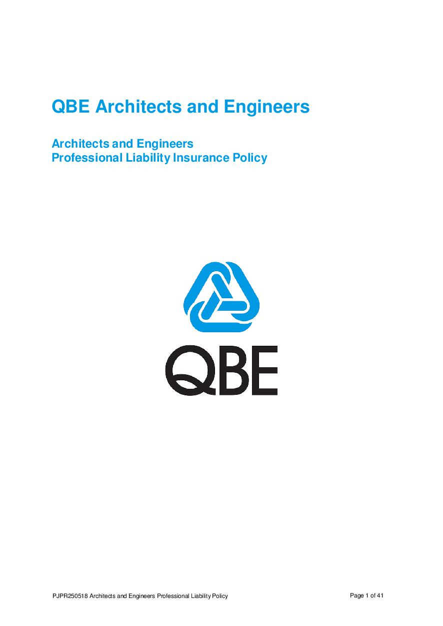 PJPR250518 QBE Architects' and Engineers' Professional Liability Policy
