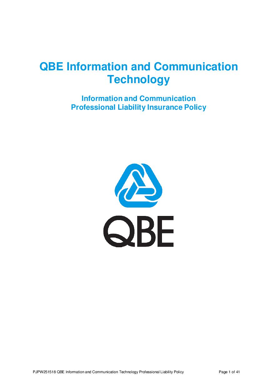 PJPW250518 QBE Information Communication Technology Professional Liability Policy