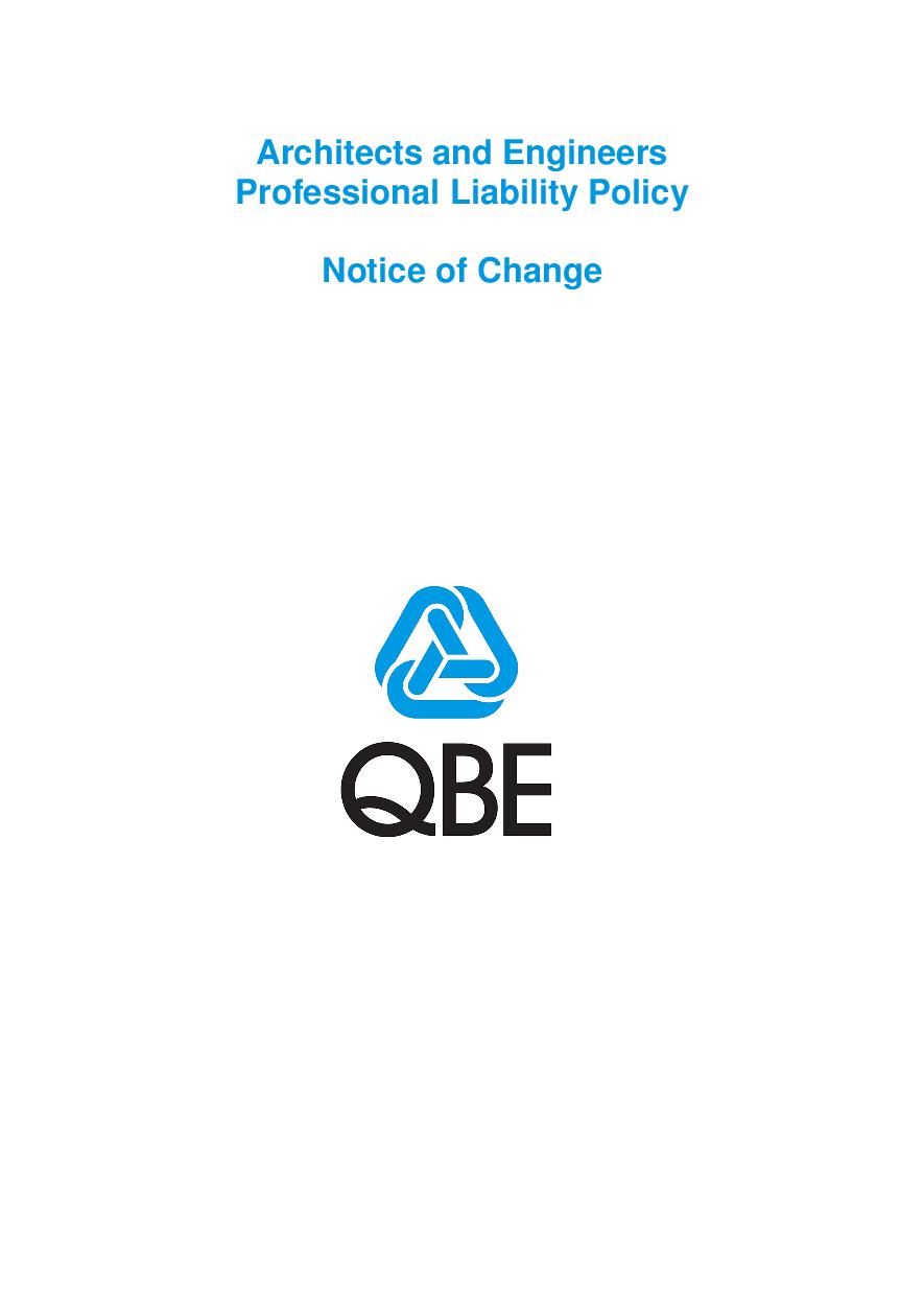 NJPR250518 QBE Architects' and Engineers' Professional Liability Notice of Change