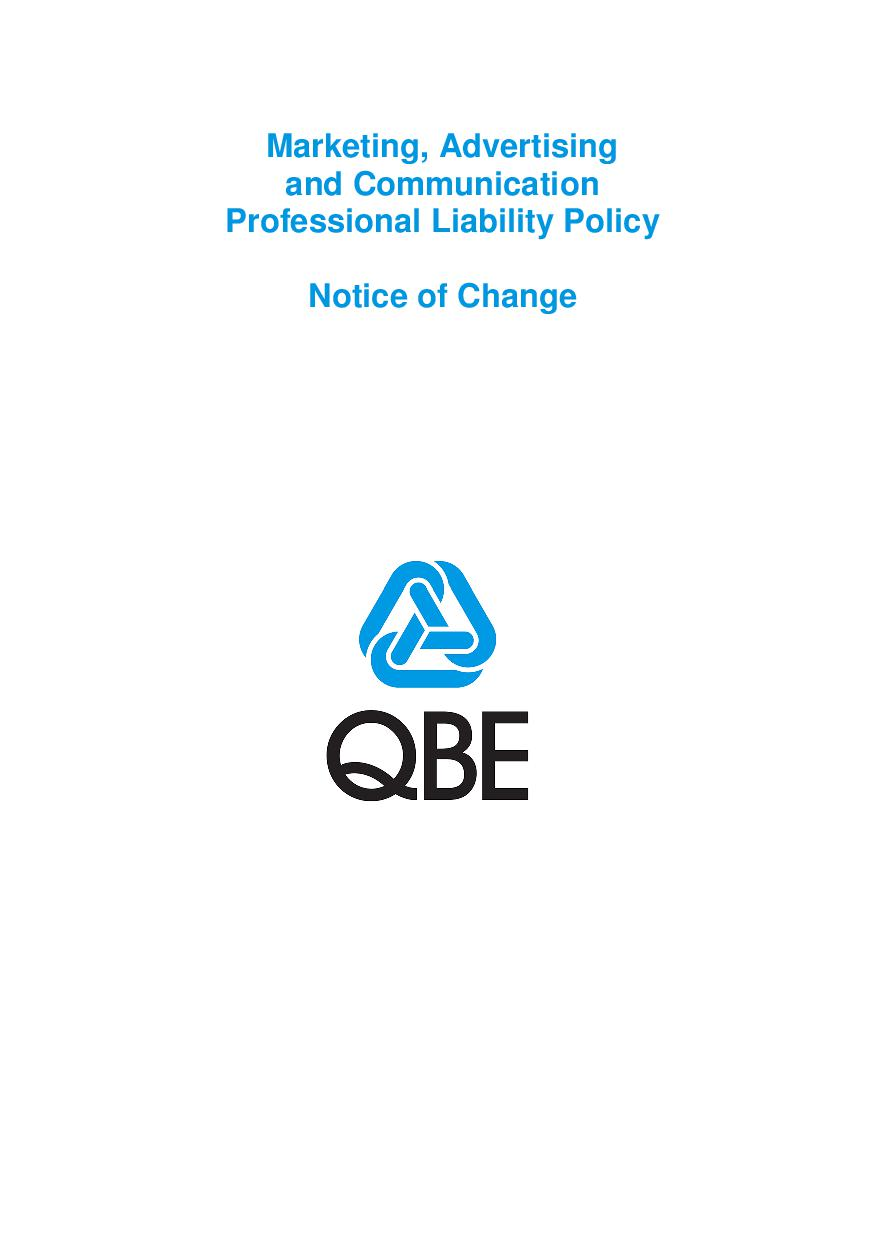 NJMF250518 QBE Marketing Advertising and Communication Professional Liability Notice of Change