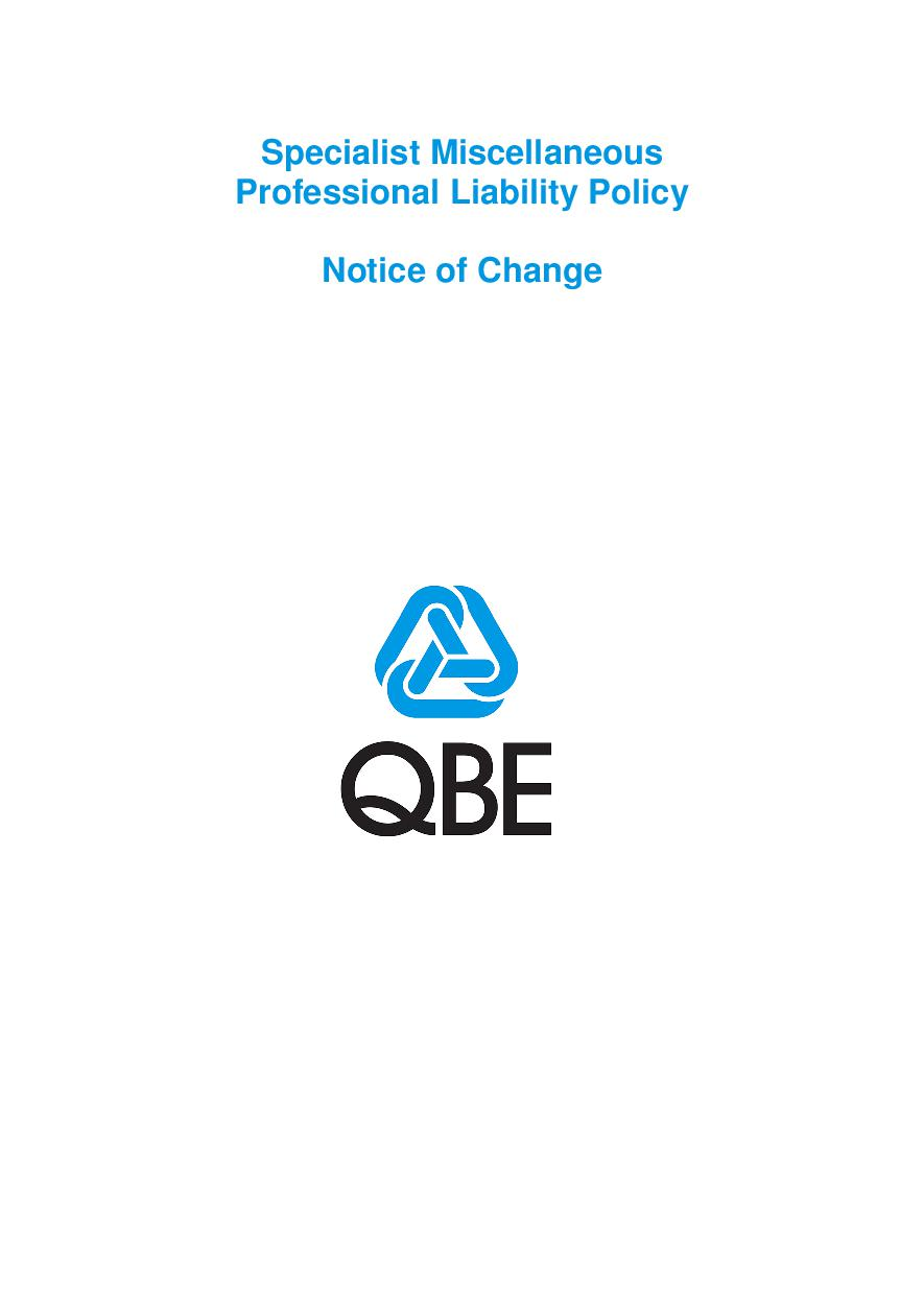 NJPJ250518 QBE Specialist Miscellaneous Professional Liability Notice of Change