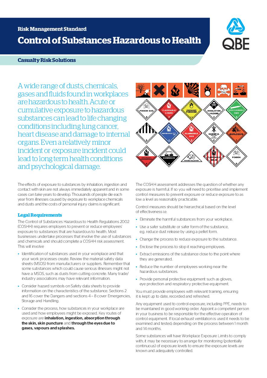 CoSHH Risk Management Standard