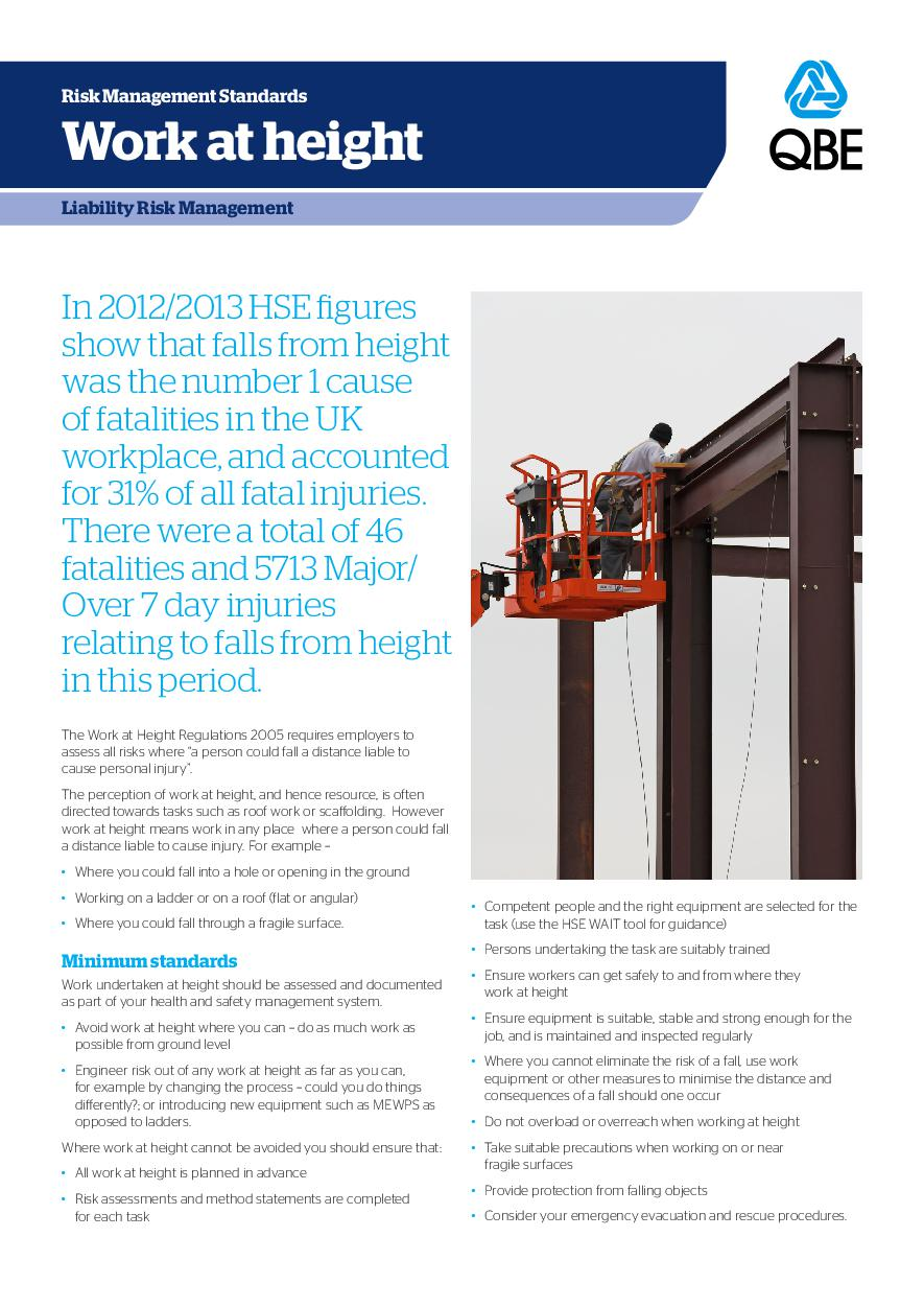 Work at Height Risk Management Standard