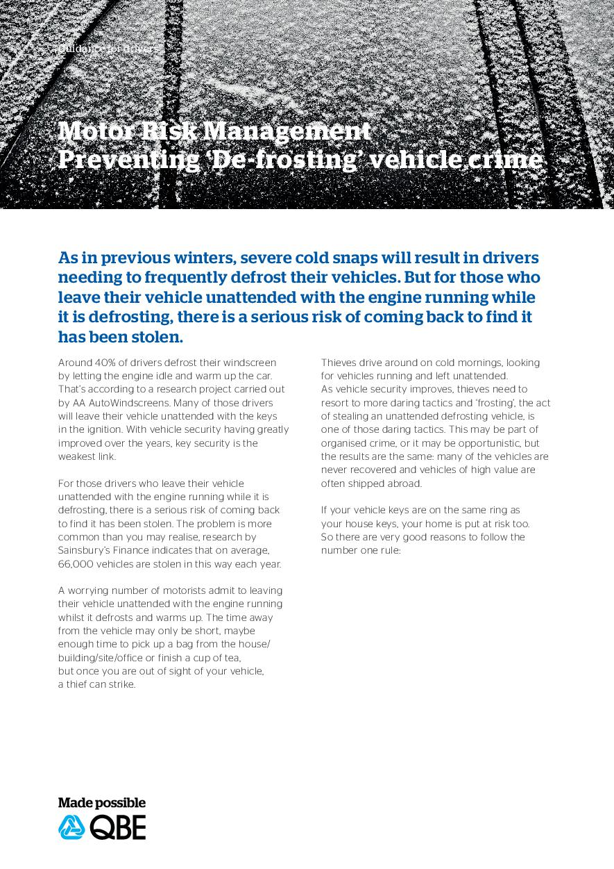 Preventing 'De-frosting' vehicle crime