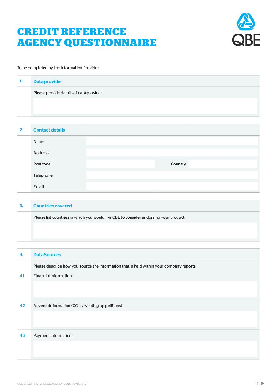 QBE Credit Ref Agency Questionnaire