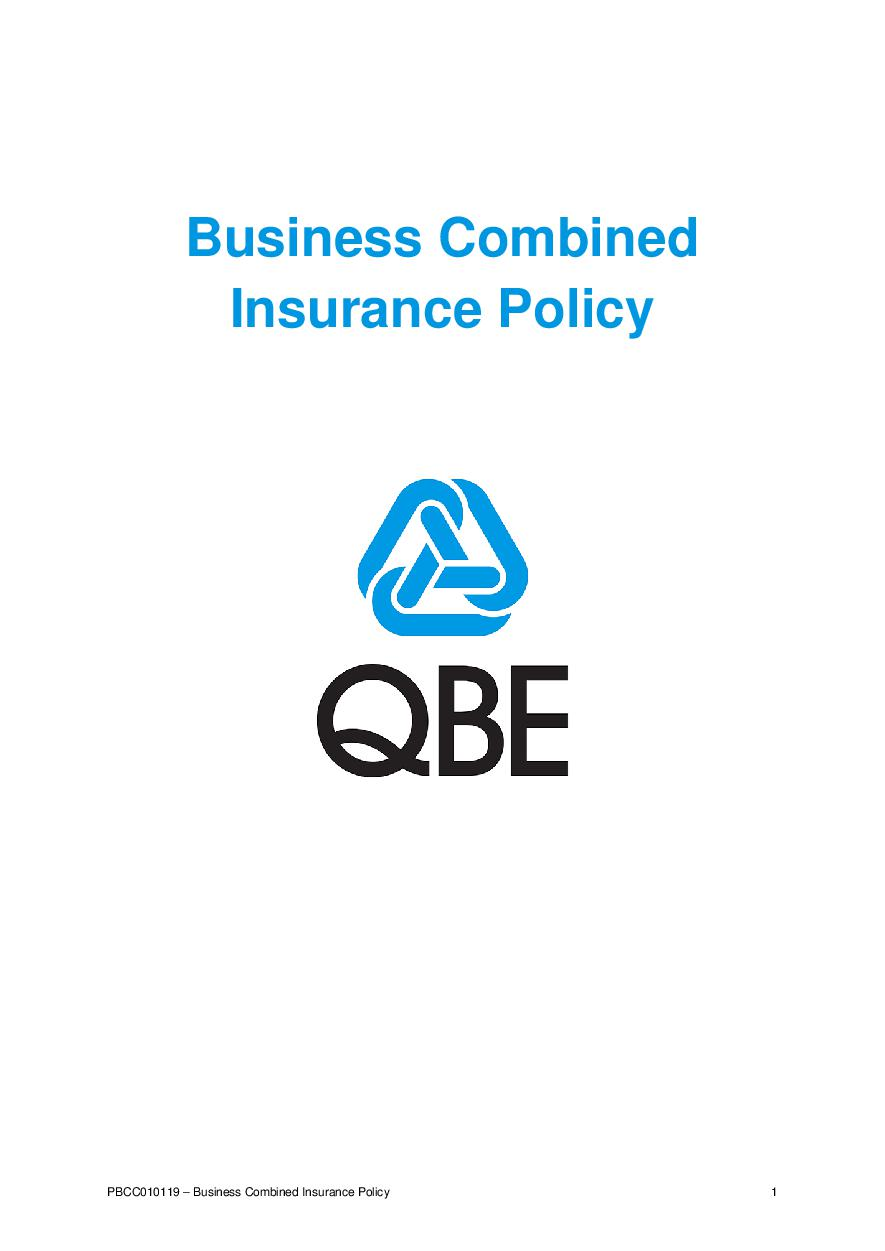 PBCC010119 Business Combined Insurance Policy