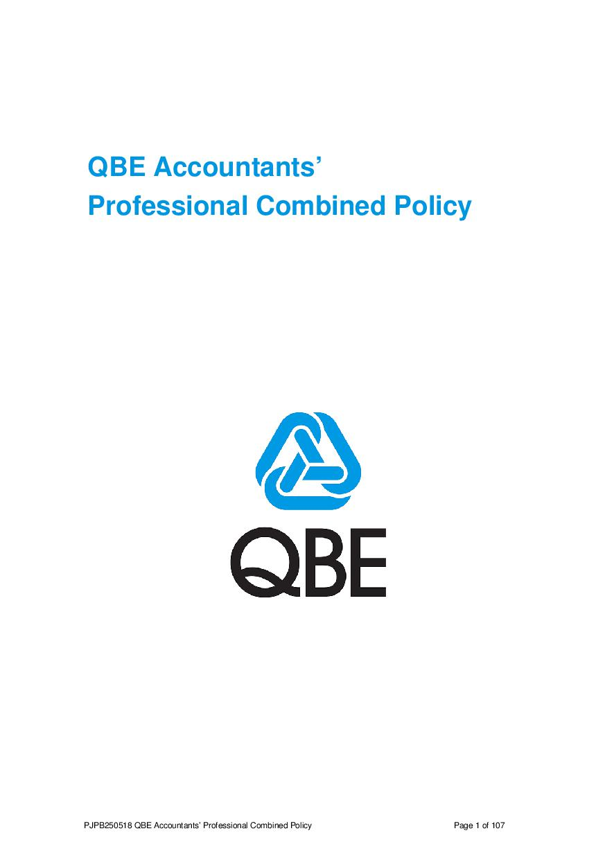 NJPV010119 QBE Information Communication Technology Professional Combined Liability Policy   Notice of Change