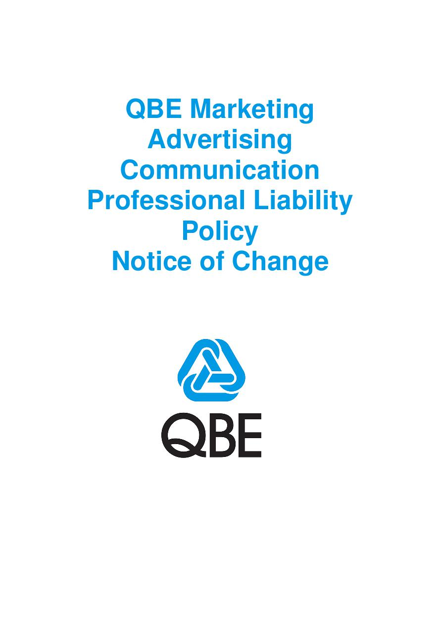 NJMF010119 QBE Marketing Advertising Communication Professional Liability Policy   Notice of Change