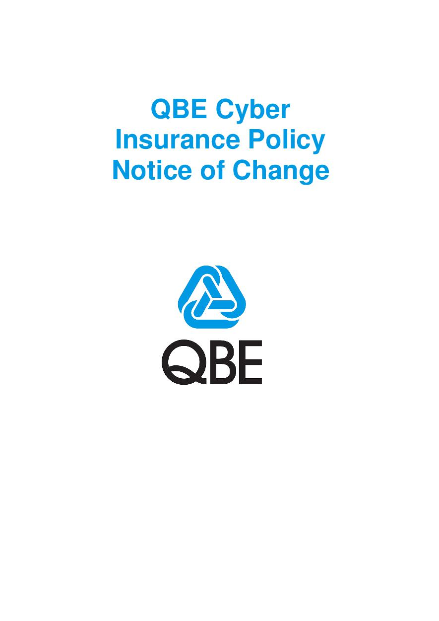 NCYS010119 QBE Cyber Insurance Policy  Notice of Change