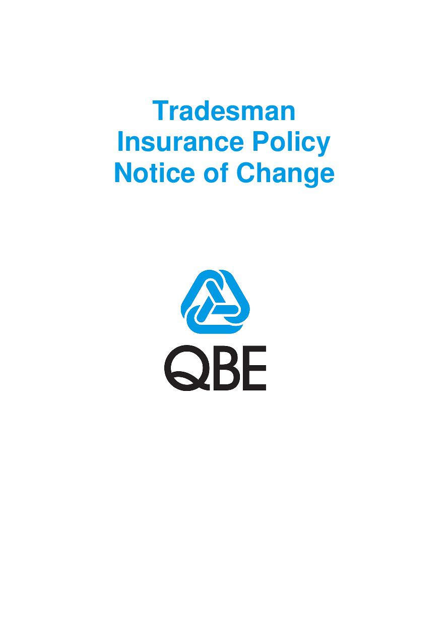NTRA0100619 Tradesman Insurance Policy (Imarket) Notice of Change