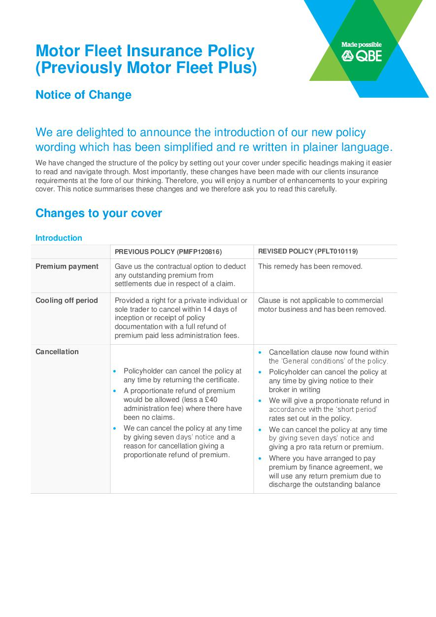 NFLT010119 Motor Fleet Insurance Notice of change (PDF 327KB)
