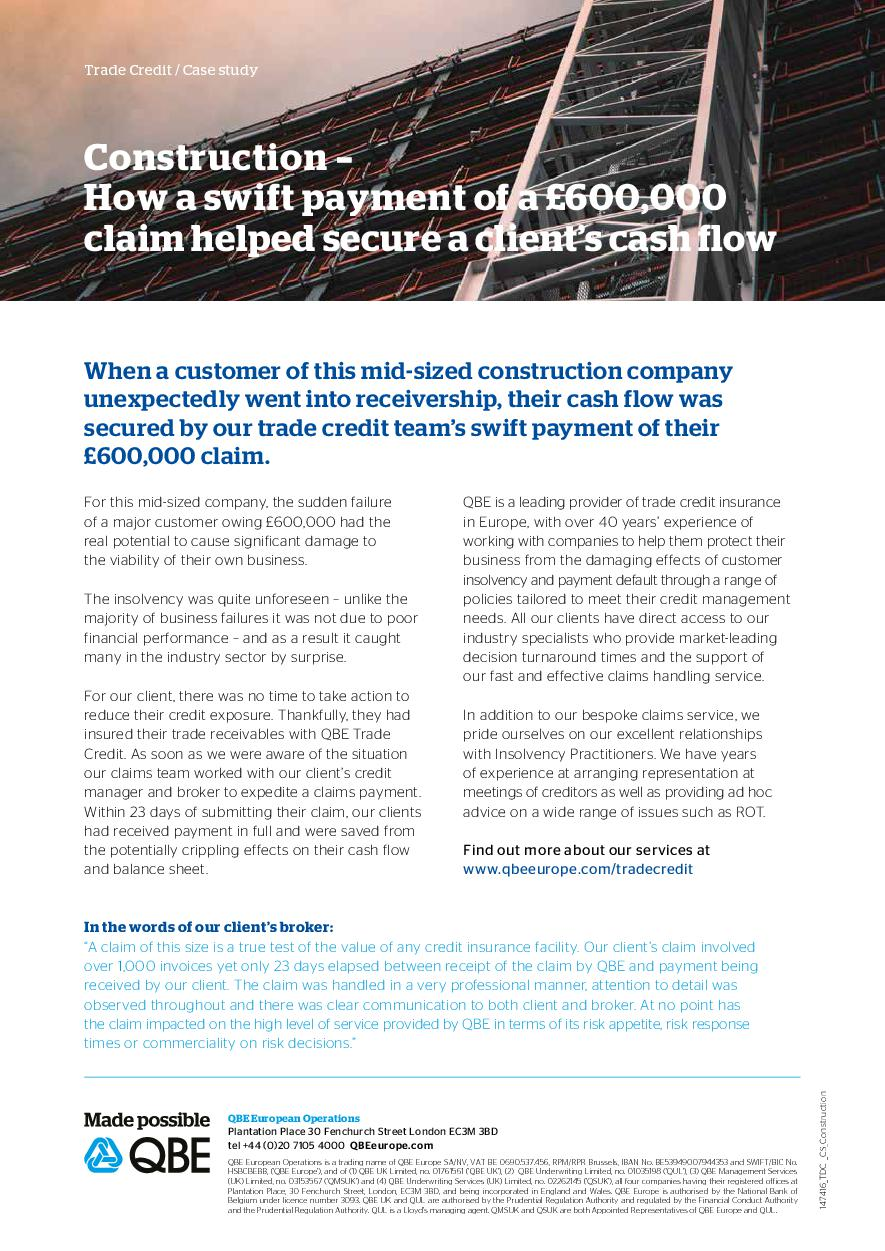 Trade Credit case study: construction