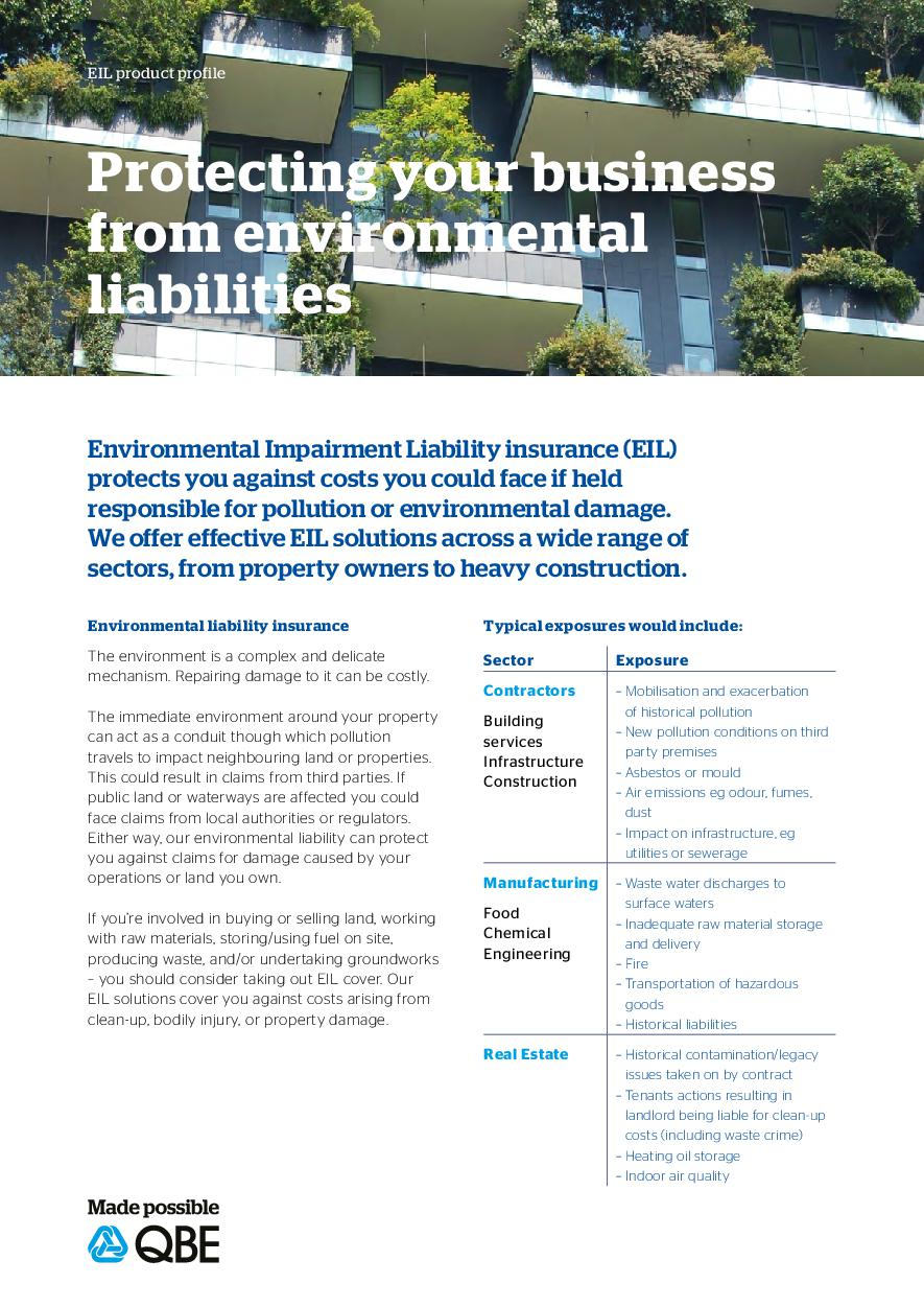 Environmental Impairment Liability Product Profile