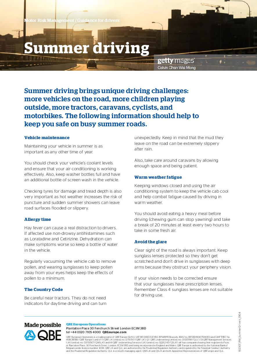 Summer driving - Guidance for drivers