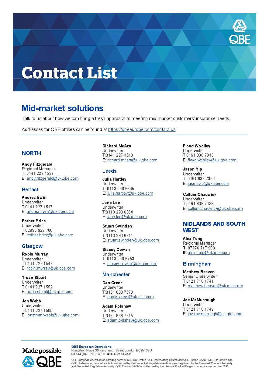 Mid-Market Solutions Underwriter Contacts