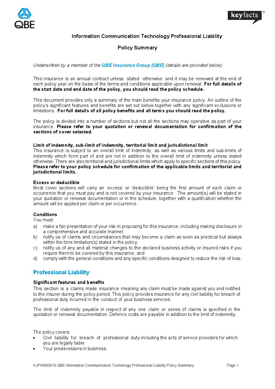 KJPW060819 QBE Information Communication Technology Professional Liability Policy