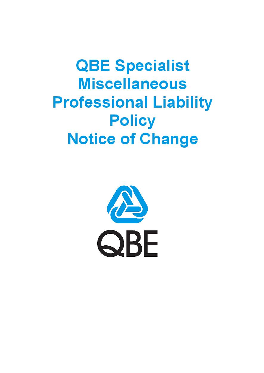 NJPJ060819 QBE Specialist Miscellaneous Professional Liability Policy   Notice of Change