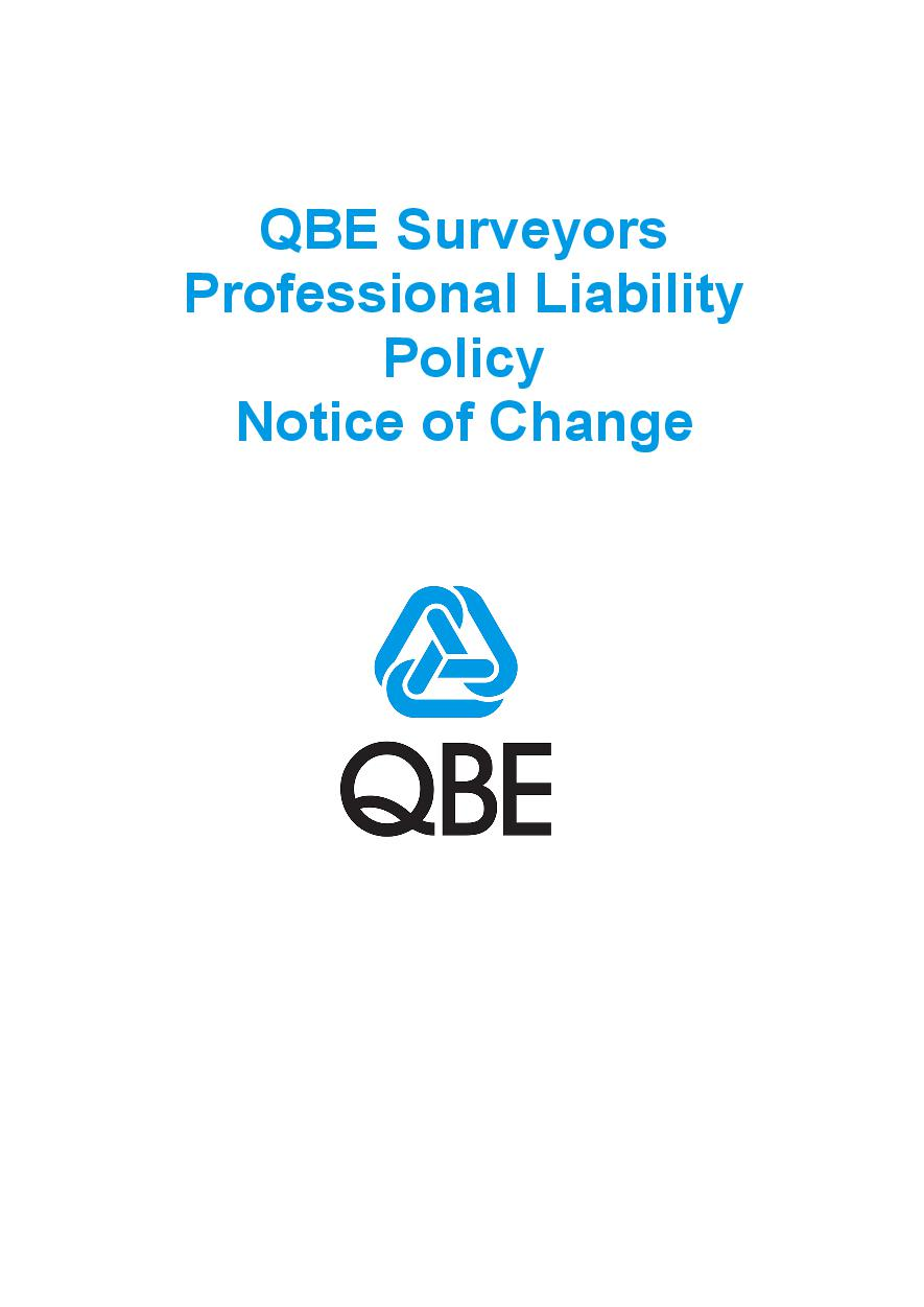NJPL060819 QBE Surveyors Professional Liability Policy   Notice of Change