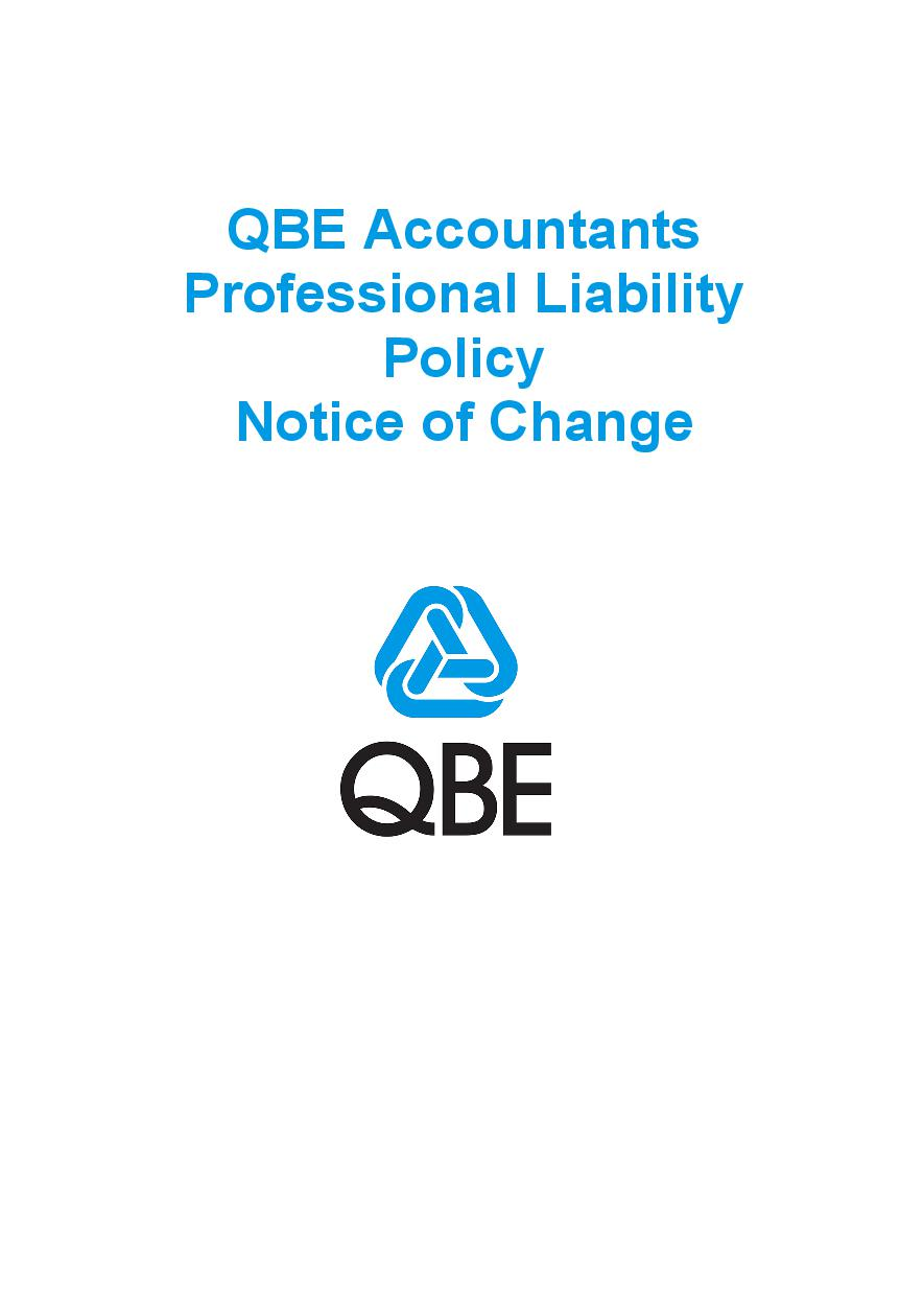 NJPP060819 QBE Accountants Professional Liability Policy   Notice of Change