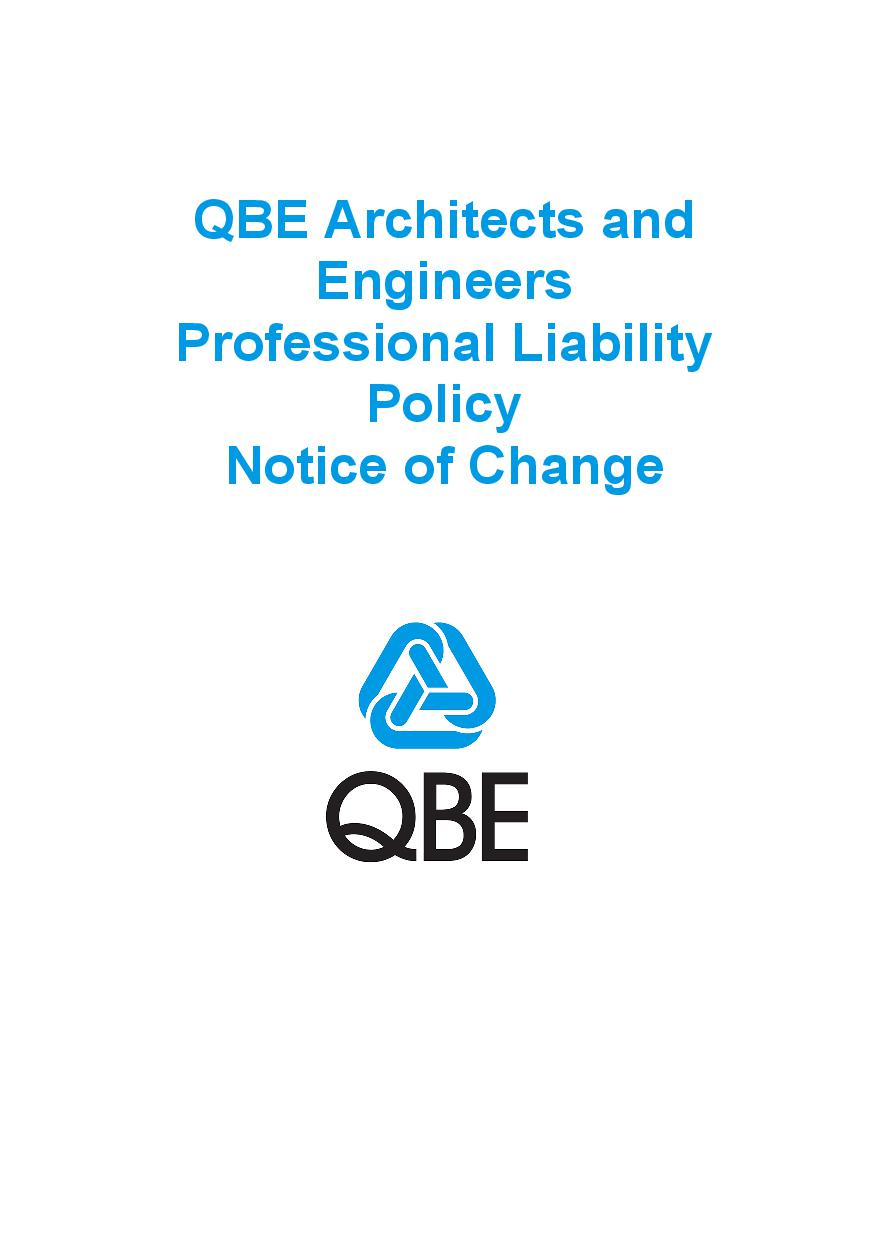 NJPR060819 QBE Architects and Engineers Professional Liability Policy   Notice of Change