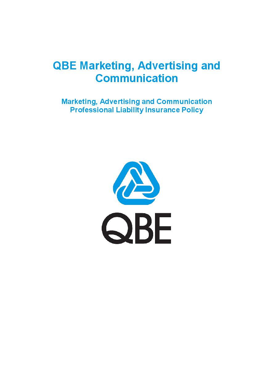 PJMF060819 QBE Marketing Advertising and Communication Professional Liability Policy